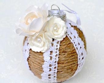 Flower Ornament, Jute Ornament, Wedding Ornament, Rustic Ornament, Chic Ornament, Boho Ornament, Wedding Decor, Boho Decor, Holiday Ornament