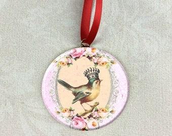 "Rose Frame Crown Little Bird Image Christmas Tree 2.25"" Ornament"