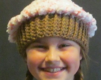 Crochet Cupcake Hat ~ Size Medium ~ Pink and white top/Medium Brown bottom