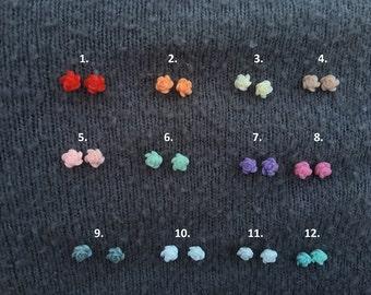 Tiny Resin Rose Earring Studs