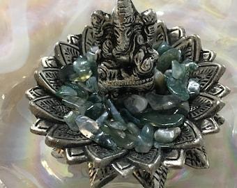 Ganesh and Lotus Incense Holder, Ganesh, Lotus, Incense Holder, Stick Incense, Rainforest Jasper Crystals, Rainforest Jasper Crystals
