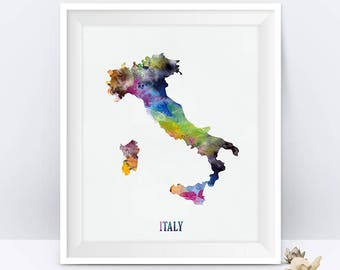 Italy Map Print Italy Poster Rome Florence Print Watercolor Map State Art Europe Office Home Decor Gift Digital Download