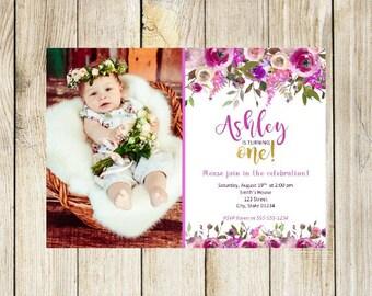 First Birthday Invitation, Custom Birthday Invitation, Photo Birthday Invitation, Floral Birthday Invitation, Girls Birthday Invitations