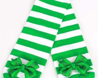 READY TO SHIP: Leg Warmers - Kelly Green & White Striped - Holly Holiday - Christmas Outfit Accessory - One Size - Cutie Patootie Designz