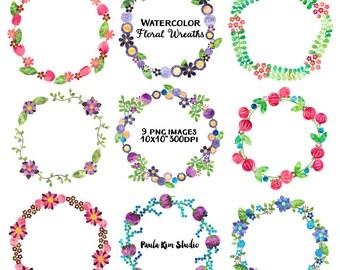 Pretty Wreath Watercolor Clipart, Flower Clip Art Frame, Instant Download, Watercolor Flower Clipart