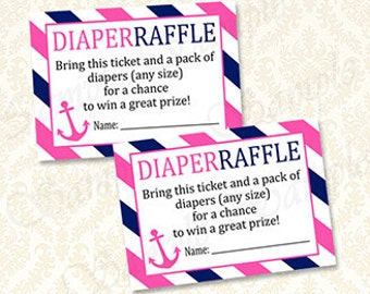 Nautical Girls Baby Shower Diaper Raffle Cards, Printable Pink and Navy Ahoy Diaper Raffle Tickets, Anchor Nautical Theme Baby Shower Raffle