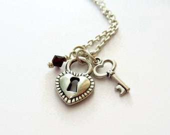 Lock and Key Necklace with Swarovski Crystal Birthstone Charm - Personalised Padlock Necklace - Key To My Heart Charm Necklace