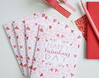 Valentines, Set of FOUR Folded Note Cards, Happy Valentine's Day, Stationery, Illustration, Love Note, Heart 4.25 x 5.5 inches