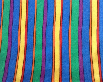 Flannel/Rainbow stripes cotton fabric by the yard