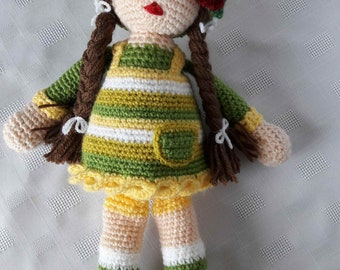 Handmade Crochet Doll - Annie - Yellow/Green Stripes