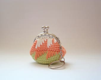 Green Orange purse for women coin purses crochet coin purse coin purse keychain mini coin purse coin purse with keychain money bag