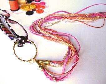 Multi Strand Glasses Lanyard, Pink, Orange, Glasses Holder, Eyeglass Lanyard, Pink Lanyard, Holder Necklace, Glasses Chain, Glasses Necklace