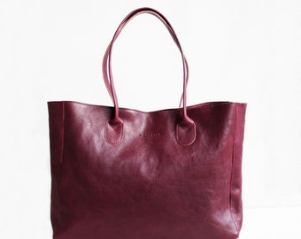 Leather Shopper in Wine / Leather Tote / Shoulder Bag / Burgundy Leather Bag /  Red Leather Bag  / Leather Handbag / Red Bag / full grain