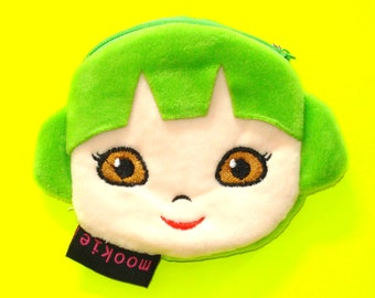 Punk Rock Girl Kawaii Kyuuto Green Hair Dont Care Pink Blue Black Zippered Pouch Coin Purse - More Colors