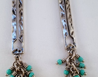 Silver and turquoise dangle earrings