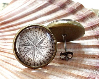Compass Earrings - Nautical Compass Rose Stud Earrings in Brass
