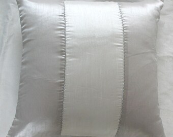 40% OFF. Silver and white throw pillow cover with silver embroidery detail - . IN STOCK 4pcs