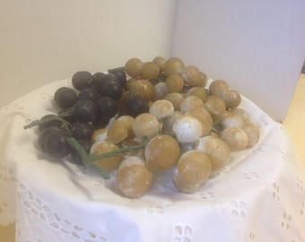 Vintage 3 Alabaster Stone Clusters Grapes Mid Century Cottage Chic Decor