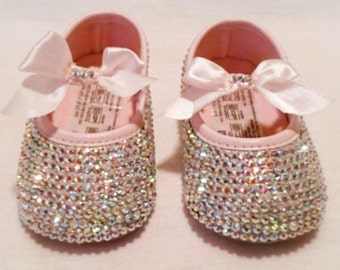 Crystal iridescent pink baby shoes
