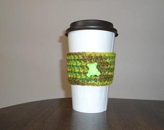 Green Teddy Bear Cup Cozy