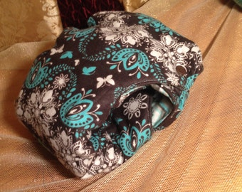 Teal & White Floral Butterfly Nykibaby Butterfly Diaper 6 - 12 months