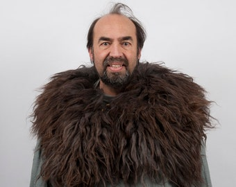 Fur mantle collar brown black sheepskin capelet larp viking armor warcraft costume cosplay orc barbarian game of thrones medieval clothing