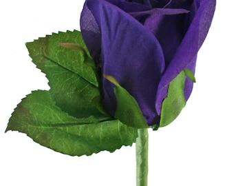 Purple Silk Rose Boutonniere - Wedding Boutonniere Prom