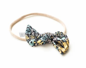 One Size Fits All- Top Knot Elastic Headband/Bow Collection- Tapestry on nylon or metal clip