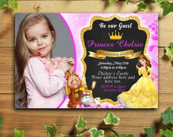 Beauty and The Beast Birthday Invitations with Photos,Beauty and The Beast Birthday Invitations,Beauty and The Beast Birthday Party,Beauty
