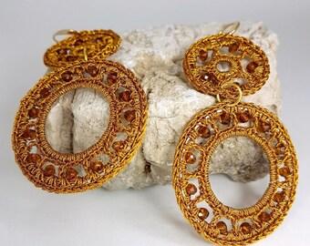 Double Crochet hoop earrings. Crochet Bijoux
