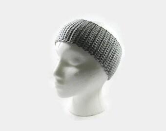 Light Gray Crochet Cotton Ear Warmer One Size Fits Most
