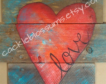 "16' X 16"" #624 Love Heart on Rustic Wood Wall Decor Door Decor Original Art"
