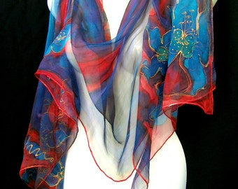 Silk Scarf, Hand Painted Silk Scarf, Blue Red Orchids, Floral, Long Silk Chiffon Scarf CUSTOM ORDER Handmade By Silkshop