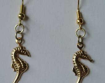 Gold Seahorse Earrings with Gold Fishhook