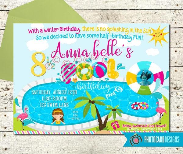 Pool birthday invitation half birthday party summer zoom filmwisefo