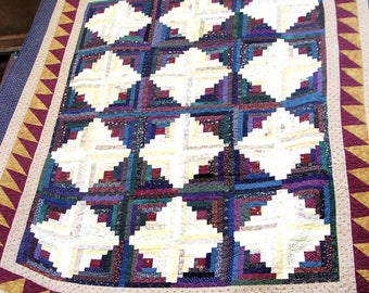 REDUCED!  84 x 92 Inches Queen Size Hand Made Log Cabin Quilt