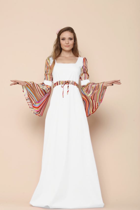 Boho Summer Wedding Bell Sleeve Dress Medieval Wedding Dress