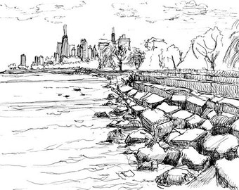 Chicago lakefront from the North Side; framed digital archival pigment print from original pen & ink drawing