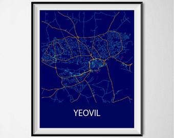 Yeovil Map Poster Print - Night