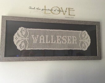 Personalized Name Doily Banner- Custom Engagement, Wedding or Anniversary Gift - Cotton Anniversary (Font #1, Edge #1)