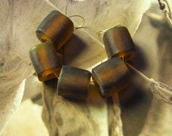5 glass beads cubes brown large
