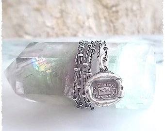 """Handmade WAX SEAL Necklace, Always on My Mind -  Victorian Wax Seal Jewelry - Jewellery -  It reads """"Tho Absent Ever Dear""""."""