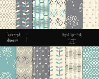 Blueberry Fields - digital patterned paper - Instant Download -  digital scrapbooking - patterned paper - Commercial use