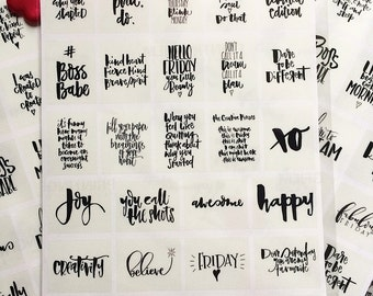 Inspirational quotes | Planner Stickers | Hand lettered Inspiring Journal Stickers | Calligraphy Planner Stickers | Chic and Monochrome