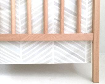 Crib Skirt Herringbone Hues of Gray. Baby Bedding. Crib Bedding. Crib Skirt Boy. Baby Boy Nursery. Gray Crib Skirt. Chevron Crib Skirt.