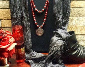 Charming Red Medallion Necklace