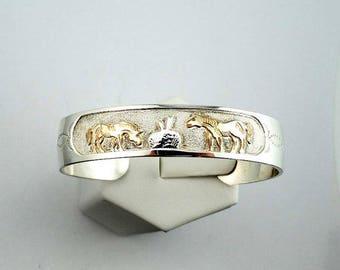 igned Garrison Boyd Southwest Navajo Native American Vintage Silver and Gold Horse Motif Cuff Bracelet