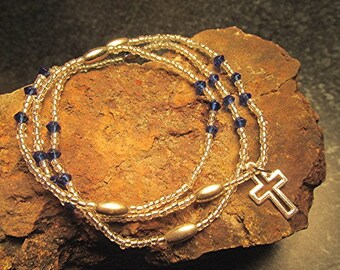Seed bead bracelet seed bead wrap bracelet crucifix wrap bracelet boho bracelet hippie bracelet Christian bracelet triple wrap bracelet gift