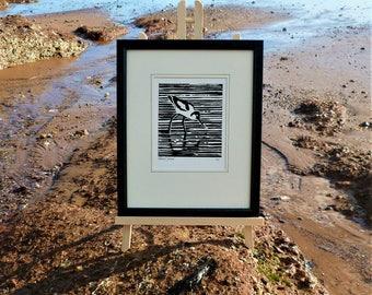 Avocet. Seaside inspired limited edition linocut print