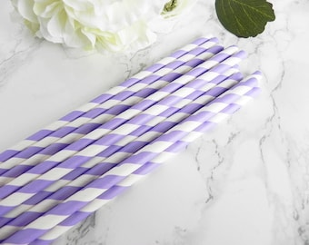 Purple Striped Paper Straws- Purple Straws-Wedding Straws-Police Birthday Party-Striped Paper Straws-Little Man Baby Shower Straws